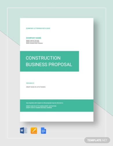 premium construction business proposal template