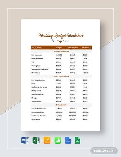 premium wedding budget template