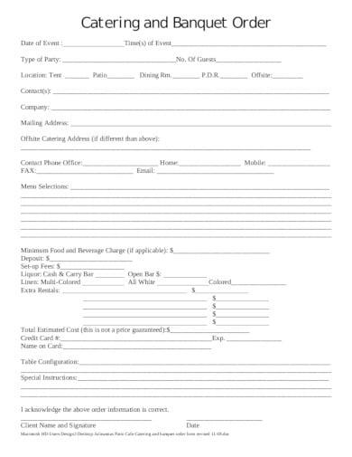 printable banquet event order form