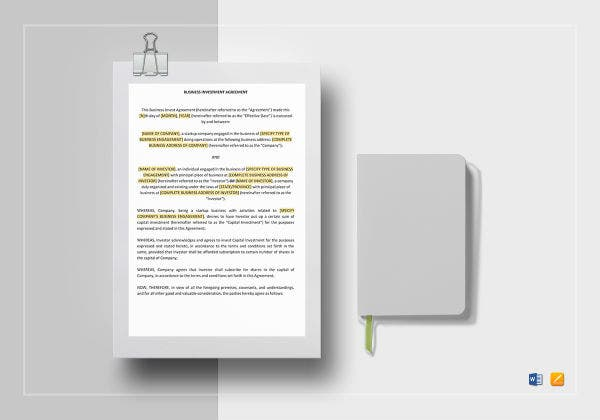 printable business investment agreement template