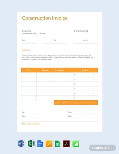 printable construction invoice template1