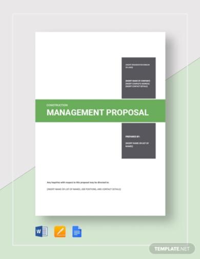 printable construction management proposal template