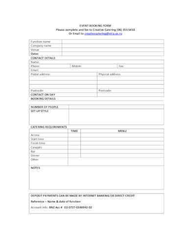 printable event booking form in pdf