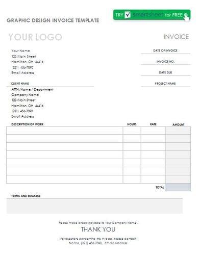 printable graphic design invoice template