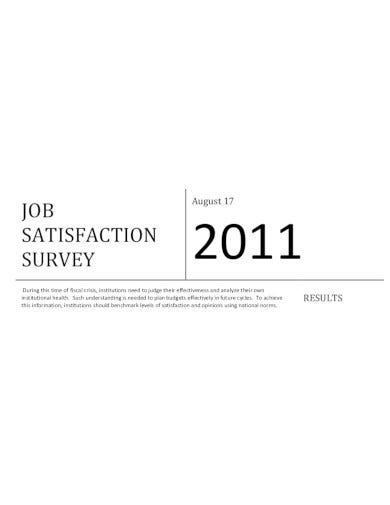 printable job satisfaction survey template