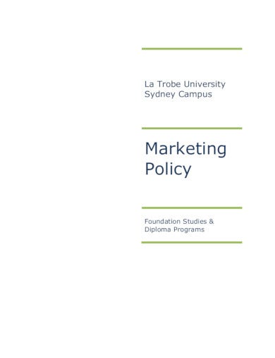printable marketing policy