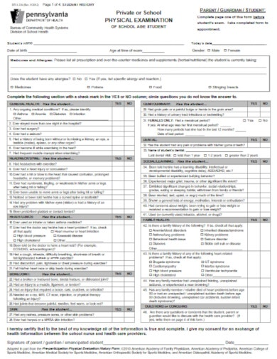 printable medical evaluation form for school age student