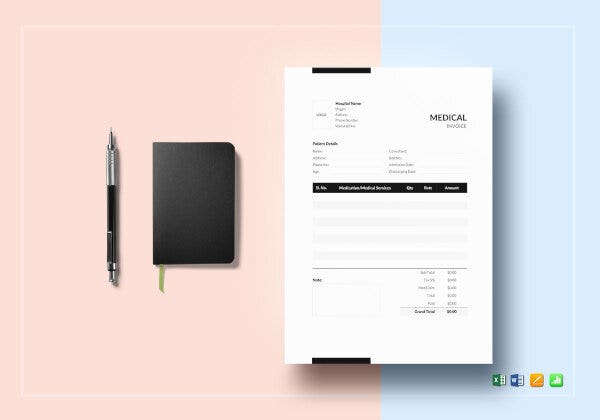 printable medical invoice template