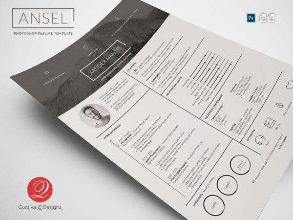 Ansel Photography PSD Resume Template