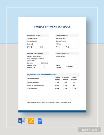 printable project payment schedule