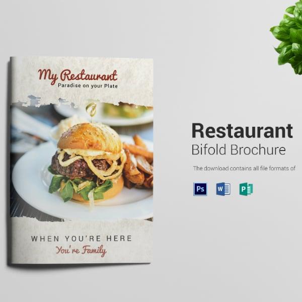 printable restaurant bi fold brochure format