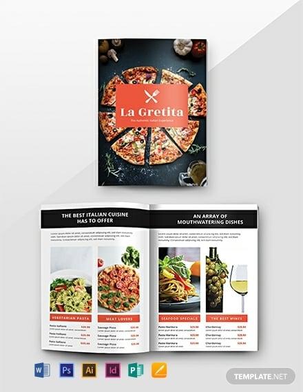 printable restaurant food catalog format