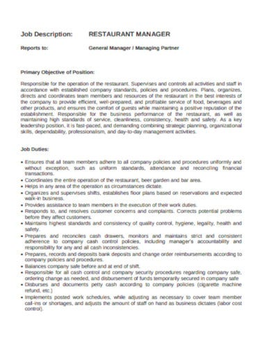 printable restaurant job description template