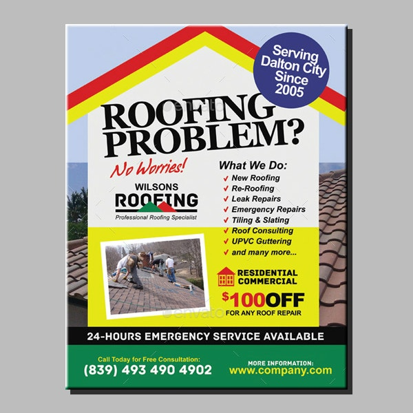 printable roofing services flyer example