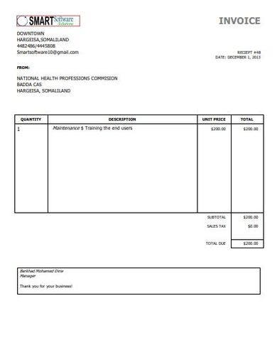 printable simple invoice format
