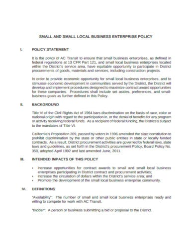 printable small business policy format