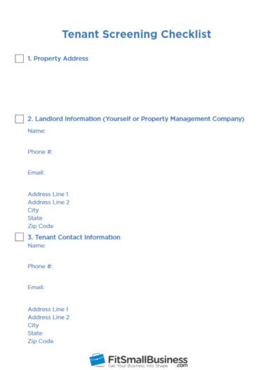 printable tenant screening checklist template