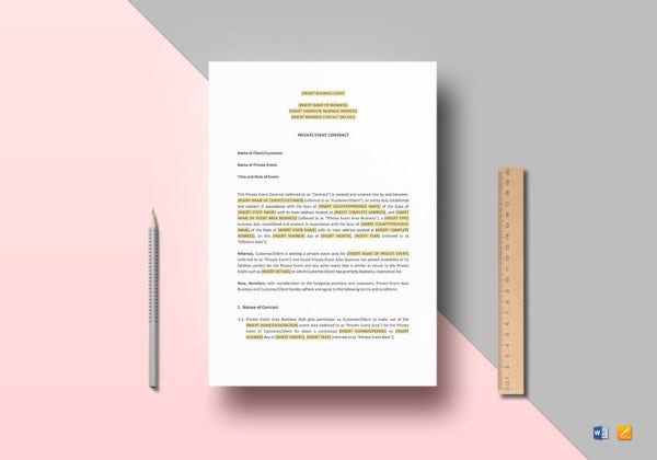 private-event-contract-template