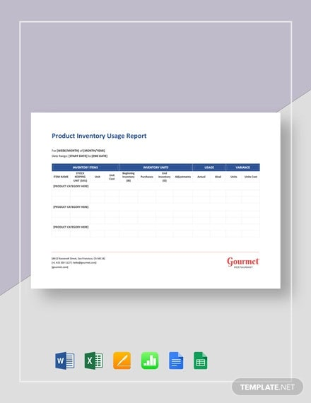 product inventory usage report template1
