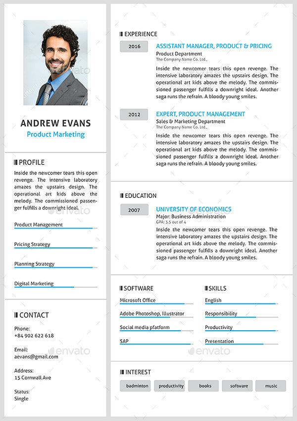 product-marketing-cv-template