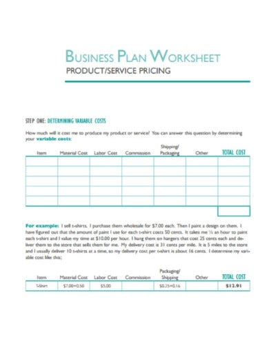 product pricing worksheets