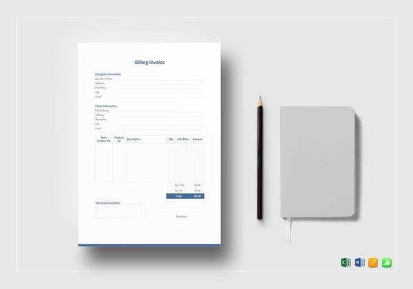 professional billing invoice template