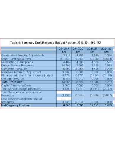 professional budget report template