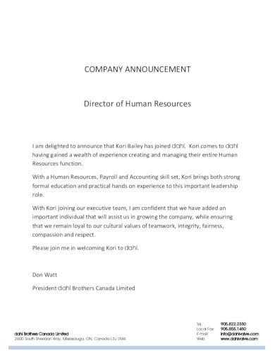 professional company announcement template