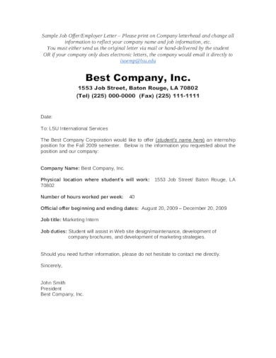 professional company offer letter