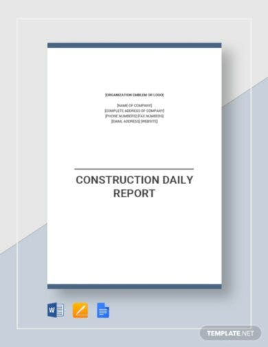 professional construction daily report template