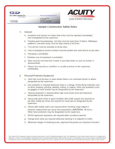 professional construction sample safety plan