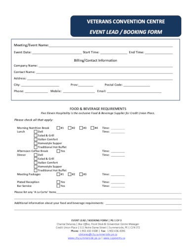 professional event booking form template