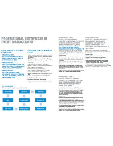 professional event planning certificate