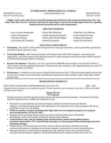professional fundraising cv template