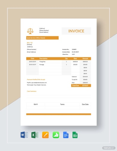 professional legal services invoice template