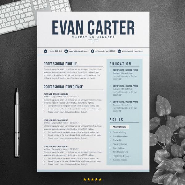 professional marketer cv template