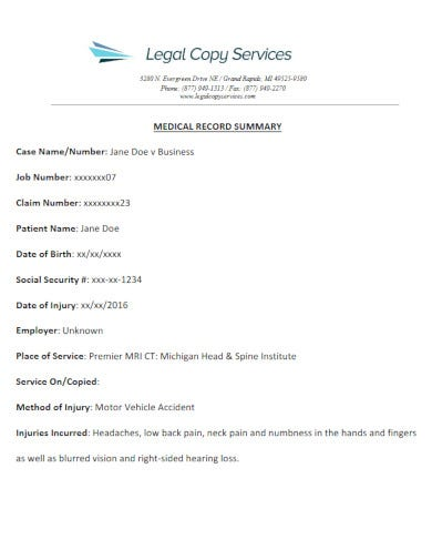 professional medical summary report template