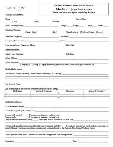 professional medical wellness questionnaire