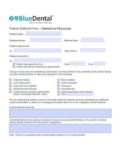 professional patient referral form