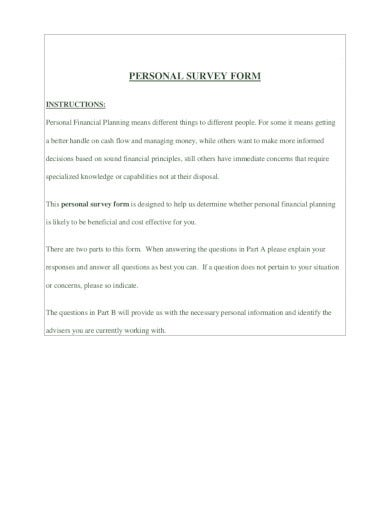 professional personal survey form in pdf