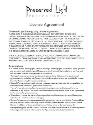 professional photography licensing agreement template
