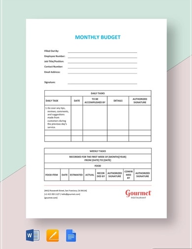 professional restaurant budget template