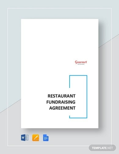 professional restaurant fundraising agreement template