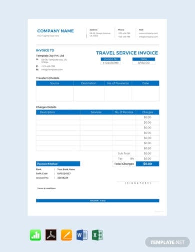 professional travel agency invoice template