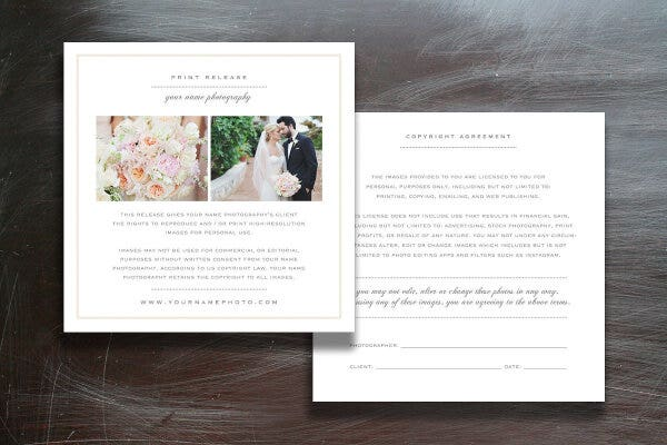 professional wedding photographer licensing forms