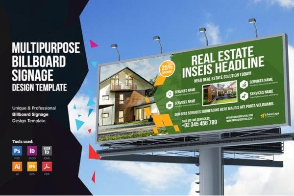 professional real estate billboard signage design template