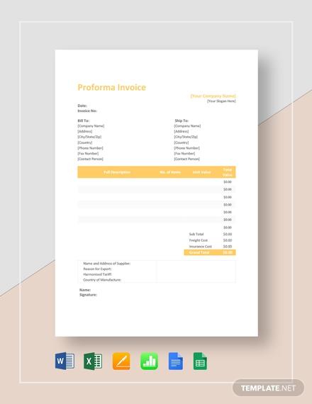 proforma invoice template1