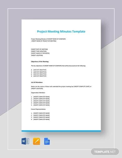 project meeting minutes format