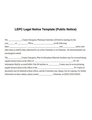 public legal notice template