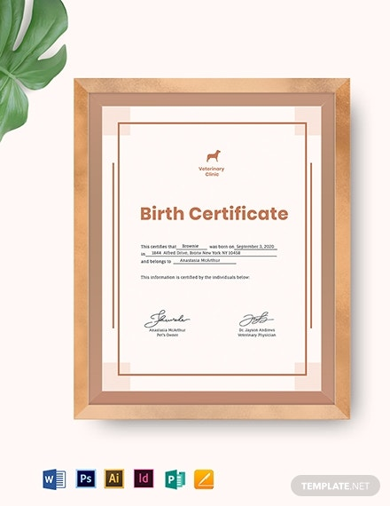 puppy birth certificate template 1
